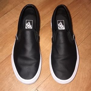 Vans Perforated Leather Black Slip-On's